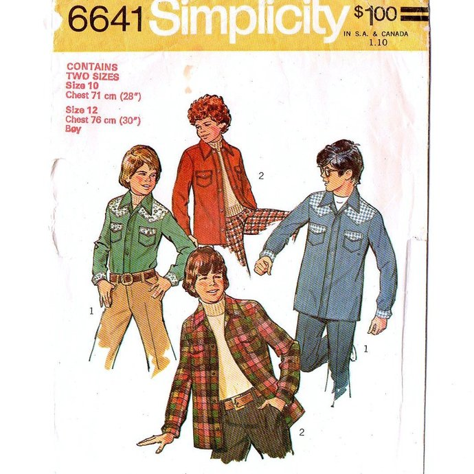Simplicity 6641 Boys Shirt Jacket 70s Vintage Sewing Pattern Size 10 Chest 28