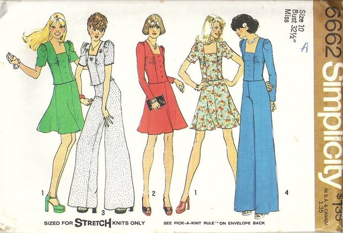 Simplicity 6662 Misses Mod Top, Skirt, Pants 70s Vintage Sewing Pattern Size 10