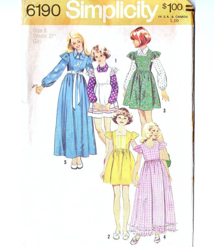 Simplicity 6190 Girls Dress Jumper Blouse 70s Vintage Sewing Pattern Size 8