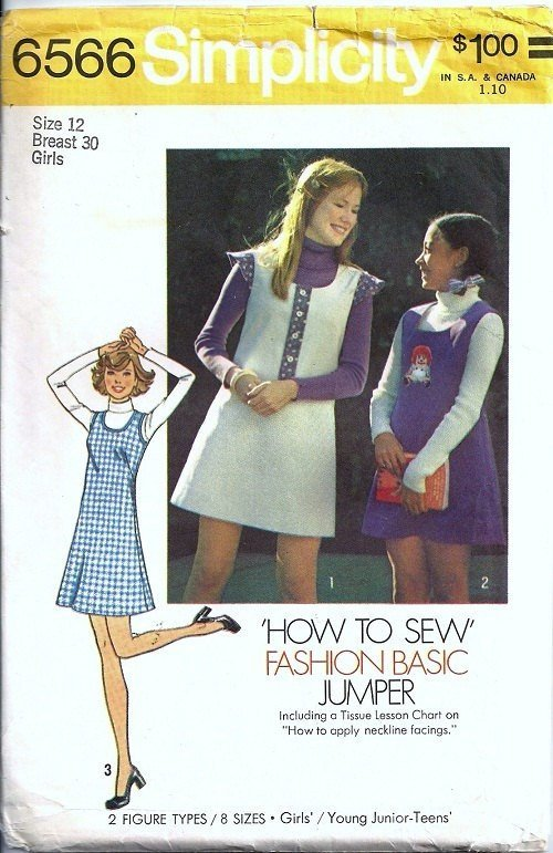 Simplicity 6566 Girls Short Dress, Jumper 70s Vintage Sewing Pattern Size 12