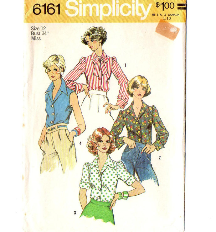 Simplicity 6161 Misses Blouse 70s Vintage Sewing Pattern Size 12 Bust 34
