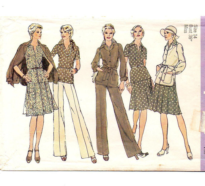 Simplicity 6514 Misses Jacket, Top, Pleated Skirt, Pants 70s Vintage Sewing