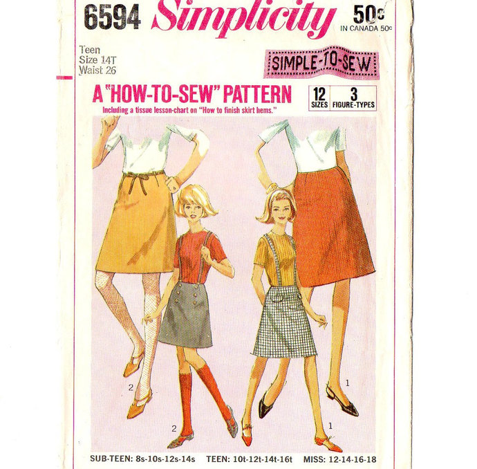 Simplicity 6594 Miss How-To-Sew Skirt 60s Vintage Sewing Pattern Teen Size 14