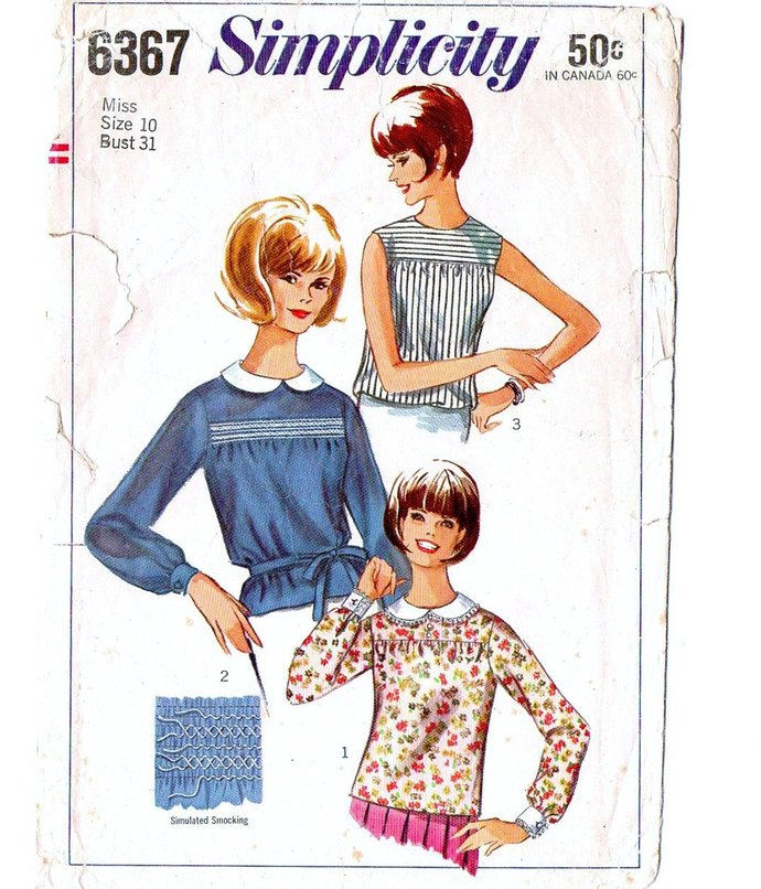 Simplicity 6367 Misses Blouses 60s Vintage Sewing Pattern Size 10 Bust 31
