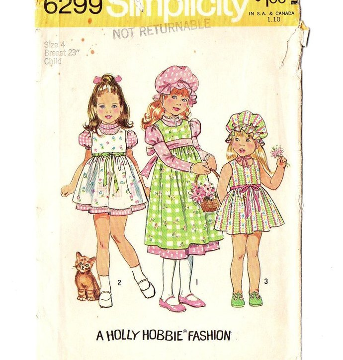 Simplicity 6299 Holly Hobbie Dress, Jumper, Cap 70s Vintage Sewing Pattern Size