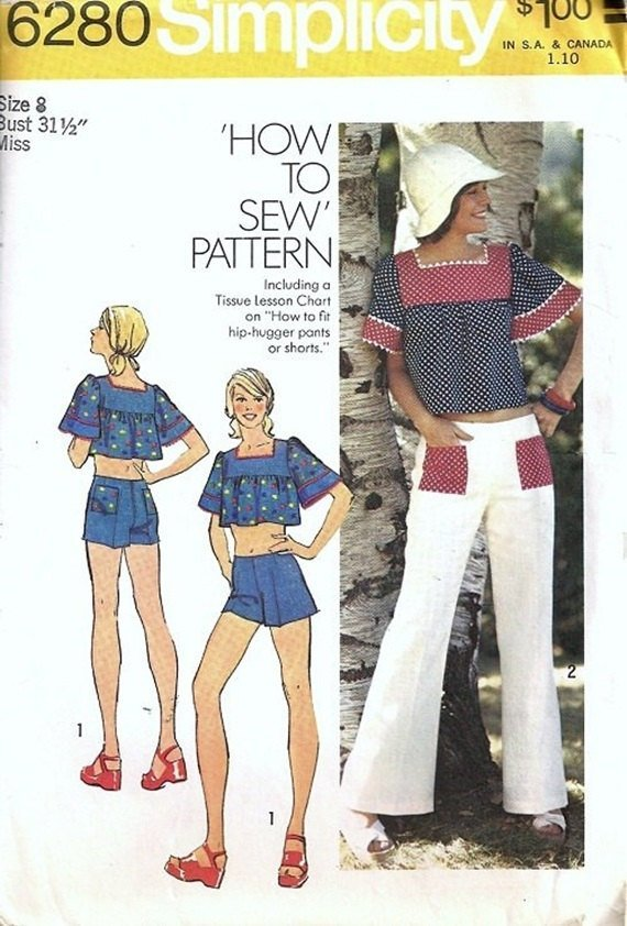 Simplicity 6280 Miss Short Cropped Top, Hip Hugger Pants, Shorts 70s Vintage
