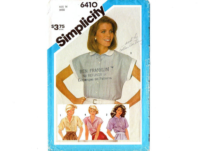 Simplicity 6410 Misses Tucked Shirt, Blouse 80s Vintage Sewing Pattern Size 14