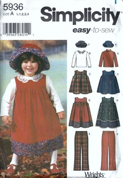 Simplicity 5936 Girls Jumper, Top, Hat, Pants Sewing Pattern Size 1/2, 1, 2, 3,