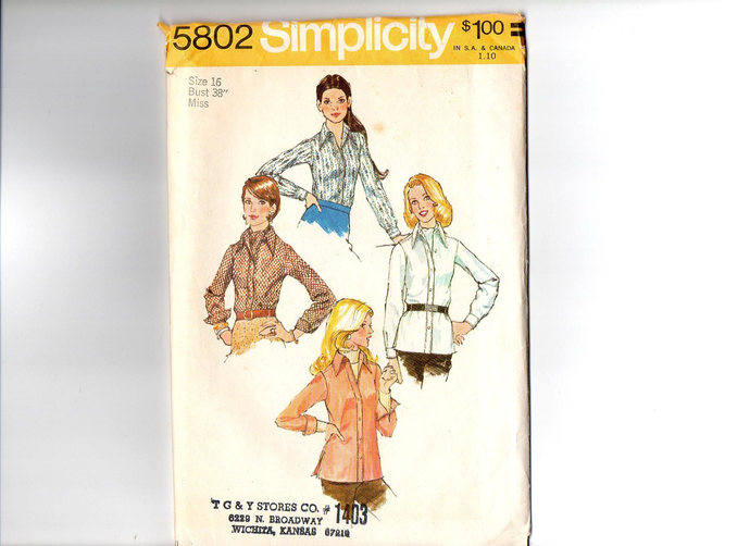 Simplicity 5802 Misses Shirt, Ascot 70s Vintage Sewing Pattern Size 16 Bust 38