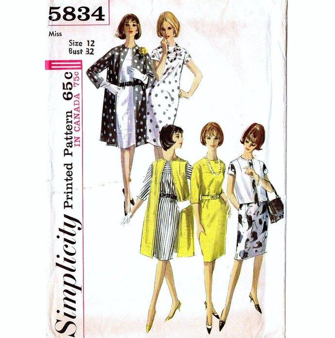 Simplicity 5834 Misses Coat, Dress, Jacket 60s Vintage Sewing Pattern Size 12