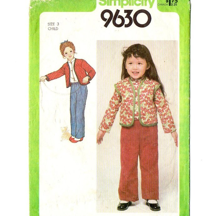 Simplicity 9630 Girls Quilted Jacket, Vest, Shirt, Pants 80s Vintage Sewing
