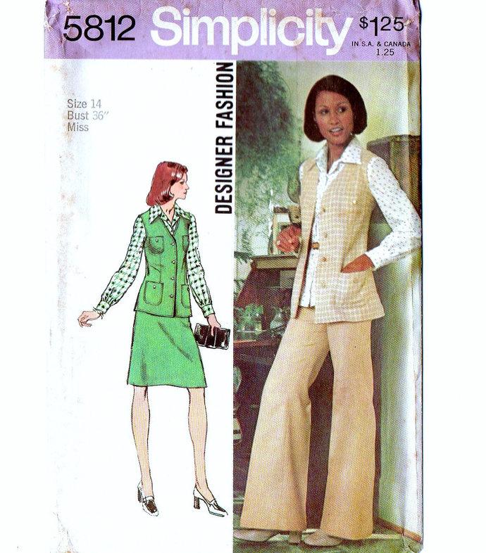 Simplicity 5812 Misses Vest, Blouse, Skirt, Pants 70s Designer Fashion Vintage