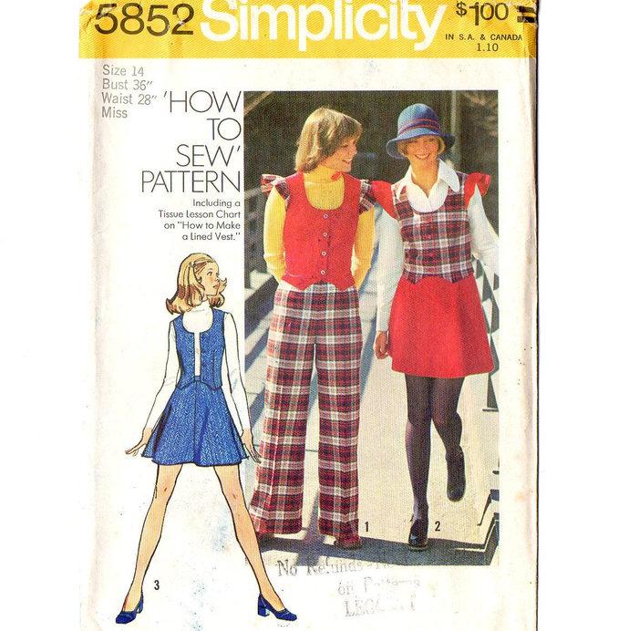 Simplicity 5852 Misses Mod Vest Mini Skirt Pants 70s Vintage Sewing Pattern Size