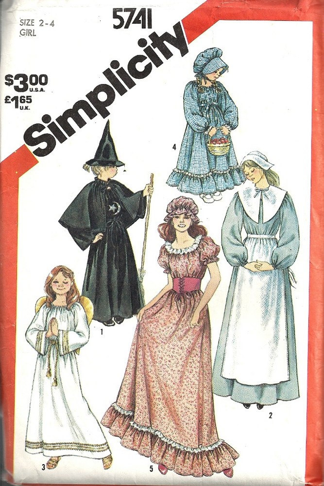 Simplicity 5741 Little Girls Pilgrim, Witch, Angel, Prairie Dress Costume