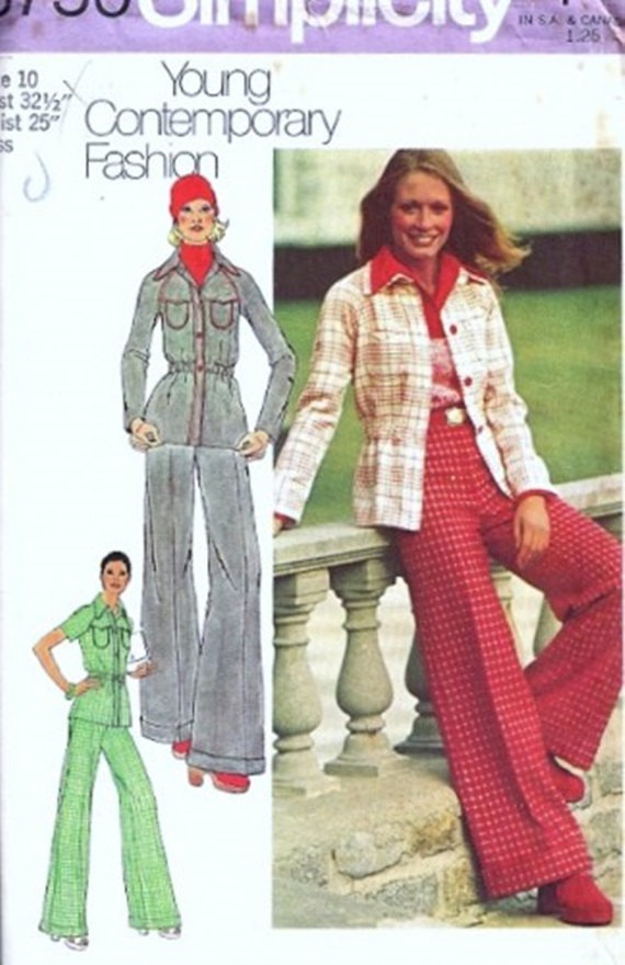 Simplicity 5750 Misses Raglan Shirt Jacket, Wide Leg Cuffed Pants 70s Vintage