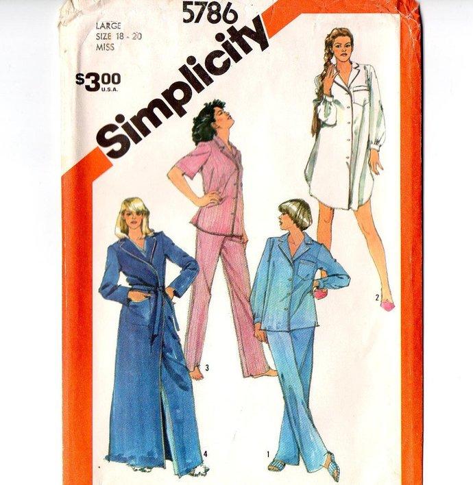 Simplicity 5786 Misses Tailored Pajamas, Nightshirt, Robe 80s Vintage Sewing