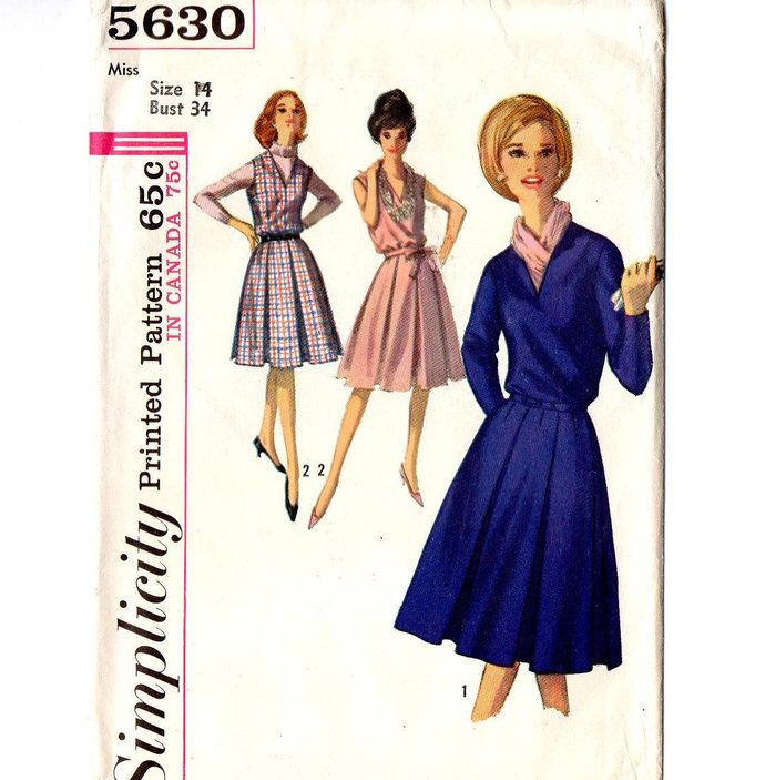 Simplicity 5630 Misses Dress, Jumper 60s Vintage Sewing Pattern Size 14 Bust 34