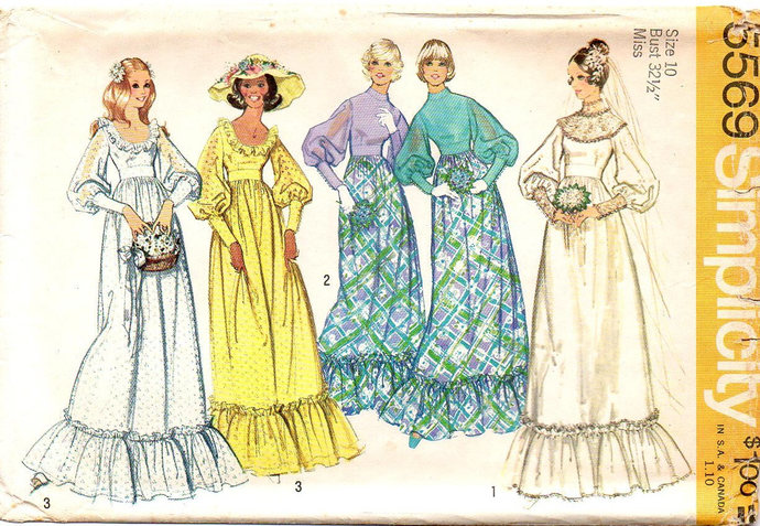Simplicity 5569 Misses Bride, Bridesmaid Dress 70s Vintage Sewing Pattern Size