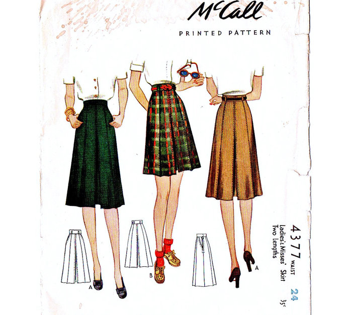 McCall 4377 Misses Pleated Skirt 40s Vintage Sewing Pattern Waist 24 Stitched