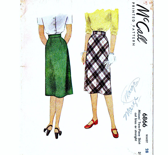 McCall 6866 Misses Straight Skirt 40s Vintage Sewing Pattern Waist 28 Dart