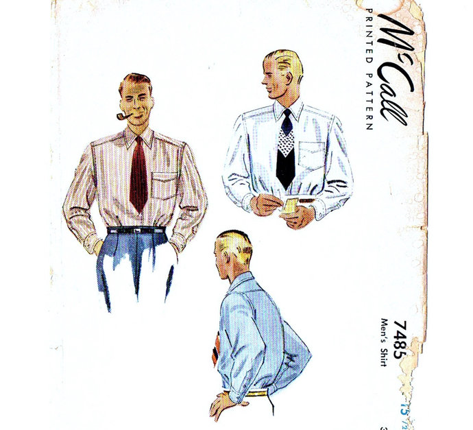 McCall 7485 Men's Shirt 40s Vintage Sewing Pattern Chest 40 Neck 15 1/2 Dress