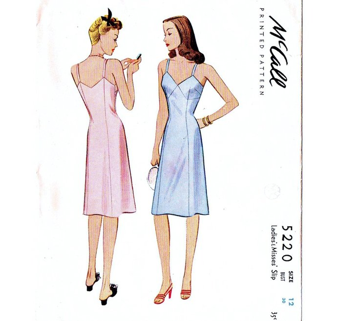 McCall 5220 Misses Full Slip 40s Vintage Sewing Pattern UNCUT Size 12 Bust 30