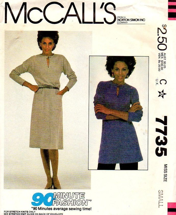 McCall's 7735 Misses Knit Dress, Tunic 80s Vintage Sewing Pattern Size 10-12