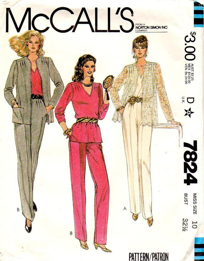 McCall's 7824 Misses Jacket, Top, Pants 80s Vintage Sewing Pattern Size 10 Bust