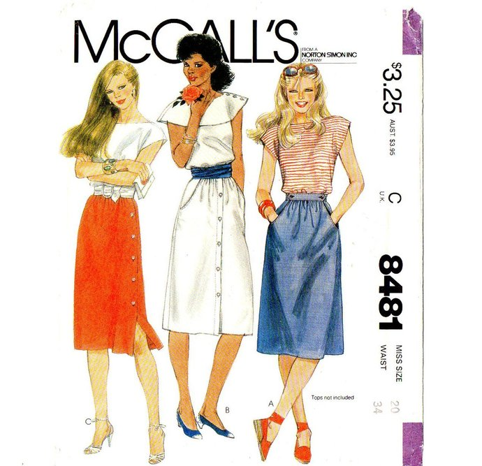 McCall's 8481 Misses Side/Front Button Skirts 80s Vintage Sewing Pattern UNCUT