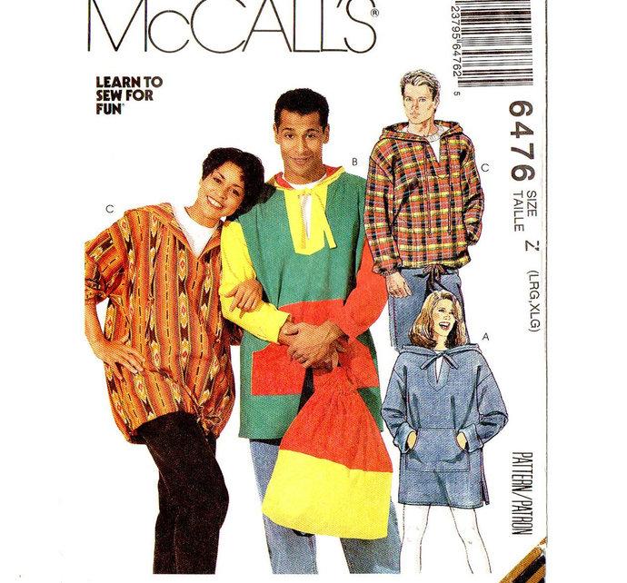 McCall's 6476 Men/Misses Hooded Top, Jacket, Backpack 90s Vintage Sewing Pattern