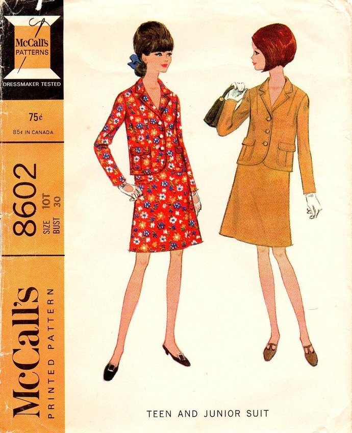 McCall's 8602 Misses Suit Jacket, Skirt 60s Vintage Sewing Pattern Size 10 Bust