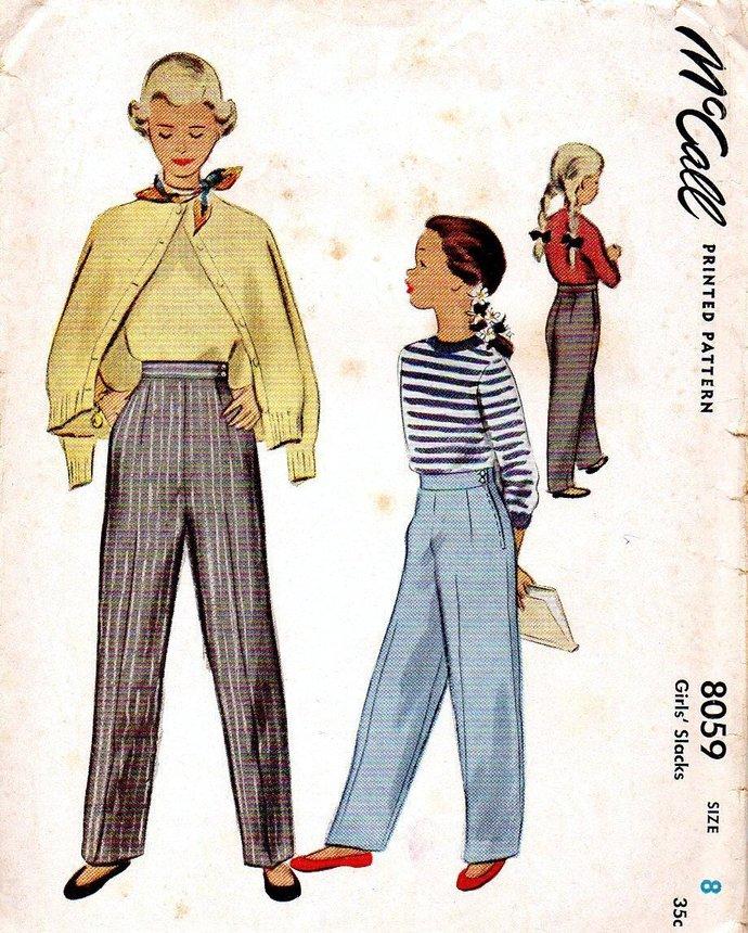 McCall 8059 Girls Pants 50s Vintage Sewing Pattern Size 8 Waist 23 Uncut