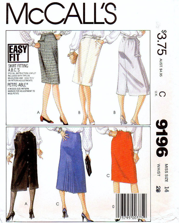 McCall's 9196 Misses Skirts 80s Vintage Sewing Pattern Size 14 Waist 28 Uncut