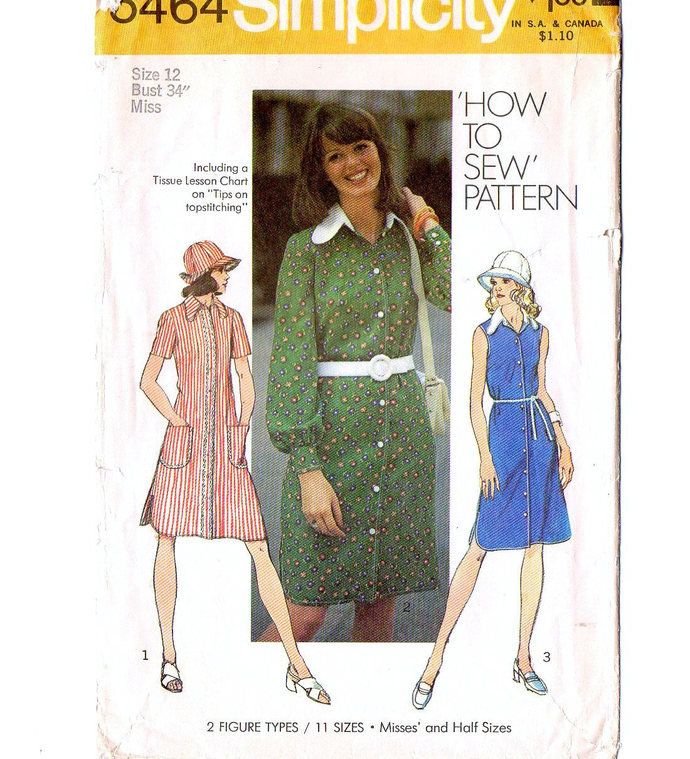 Simplicity 5464 Misses Dress, Hat 70s Vintage Sewing Pattern Size 12 Bust 34