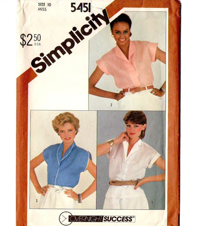 Simplicity 5451 Misses Shirt, Blouse 80s Vintage Sewing Pattern Size 12 Bust 34