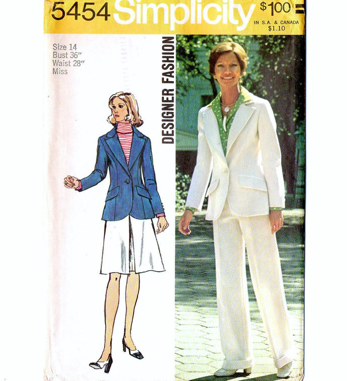 Simplicity 5454 Misses Jacket, Skirt, Pants 70s Designer Fashion Vintage Sewing