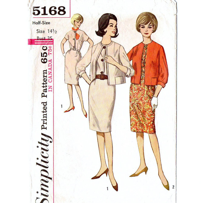 Simplicity 5168 Misses Dress, Jacket 60s Vintage Sewing Pattern Half Size 14 1/2