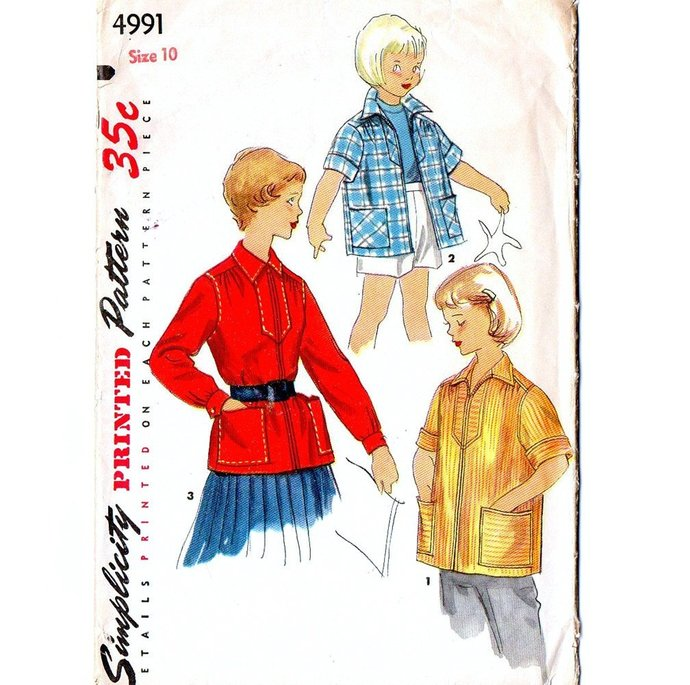 Simplicity 4991 Girls Boxy Shirt Jacket, Smock 50s Vintage Sewing Pattern Size