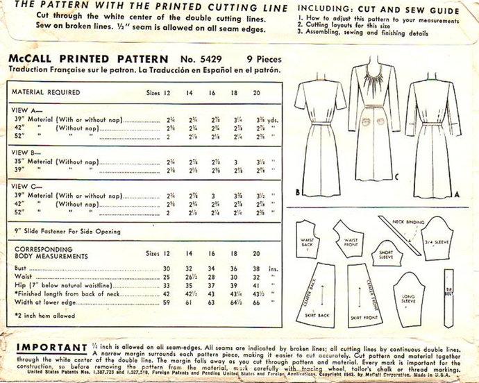 McCall 5429 Misses Dress 40s Vintage Sewing Pattern Size 18 Bust 36 U Neckline
