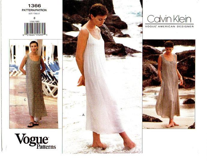 Vogue 1366 Calvin Klein Misses Sundress, Dress 90s Vintage Sewing Pattern UNCUT