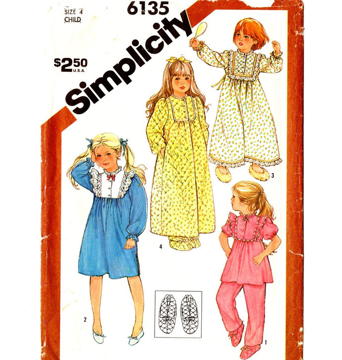 Simplicity 6135 Girls Robe, Pajamas, Nightgown, Slippers 80s Vintage Sewing