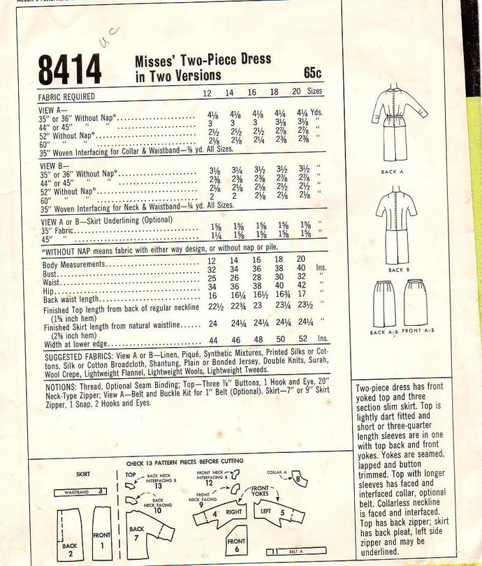 McCall's 8414 Misses 2 Piece Dress 60s Vintage Sewing Pattern Size 12 Bust 32
