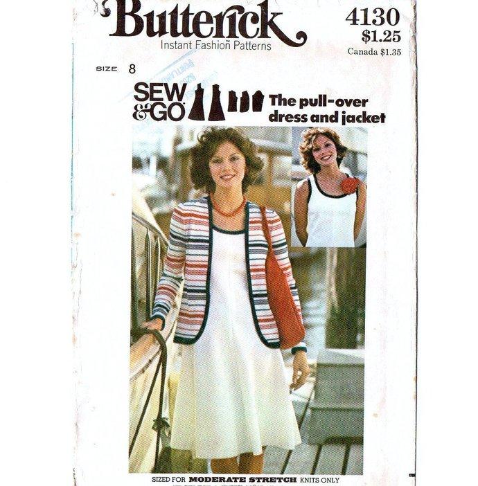 Butterick 4130 Misses Tank Dress, Jacket 70s Vintage Sewing Pattern Size 8 Bust