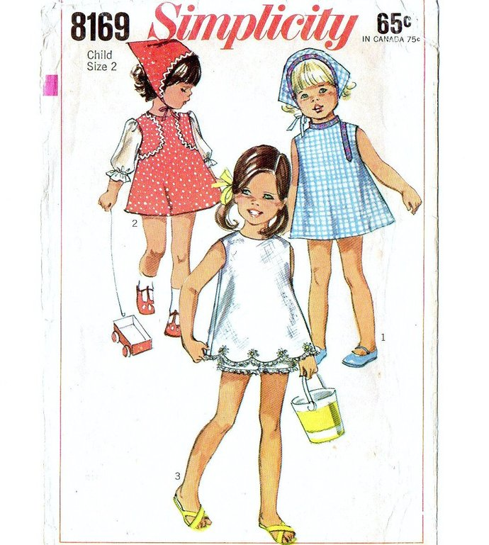 Simplicity 8169 Girls Dress, Shorts, Scarf 60s Vintage Sewing Pattern Uncut Size