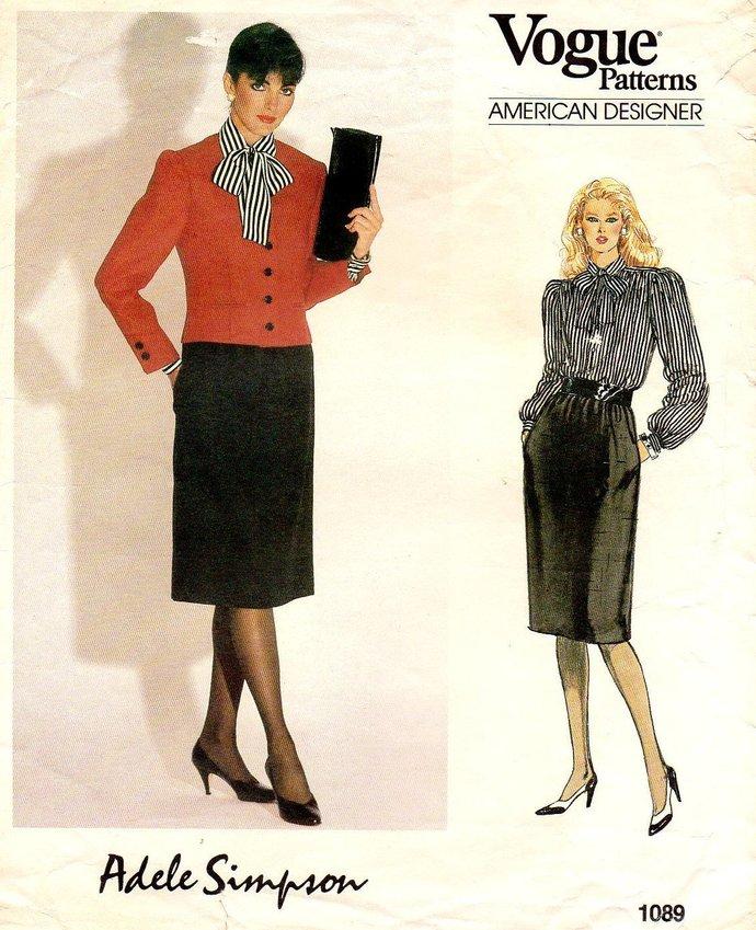 Vogue 1089 Adele Simpson Misses Jacket Blouse Skirt Vintage Designer Sewing