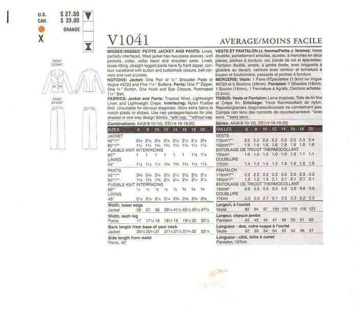 Vogue 1041 Misses Anne Klein Suit Jacket, Pants Sewing Pattern Size 6, 8, 10, 12