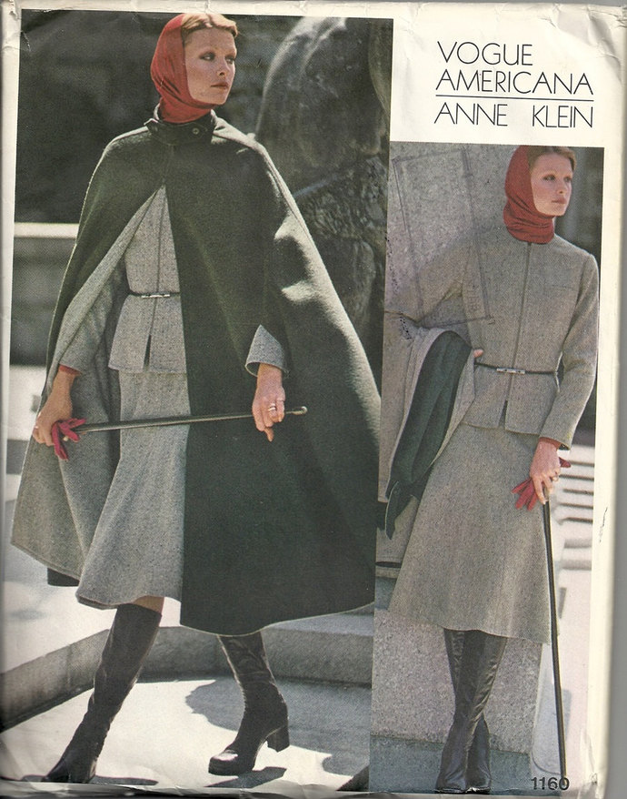 Vogue Americana 1160 Misses Jacket, Cape, Skirt, Pants, Blouse 70s Vintage