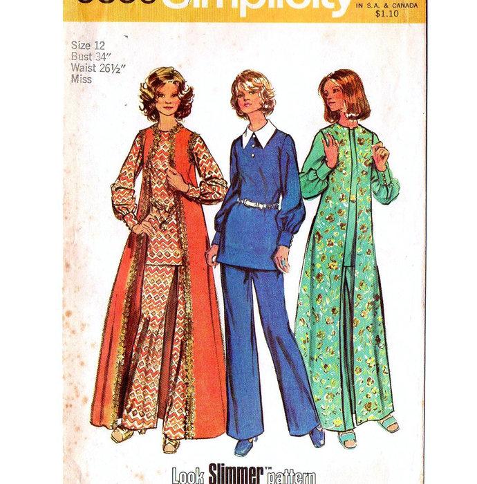 Simplicity 5356 Misses Top, Long Vest, Pants 70s Look Slimmer Vintage Sewing