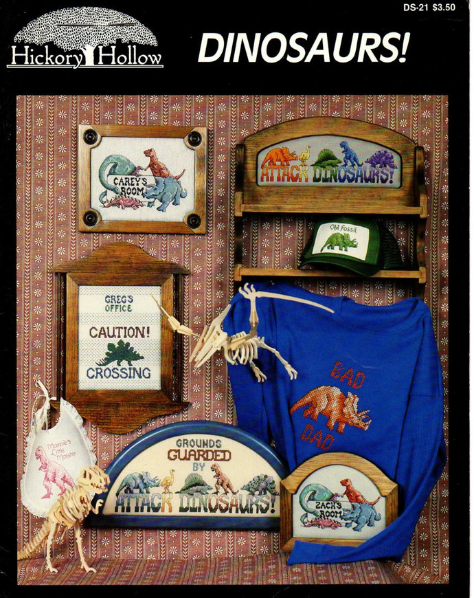 Dinosaurs Cross Stitch Pattern Leaflet 1987 Hickory Hollow DS-21 Signs,