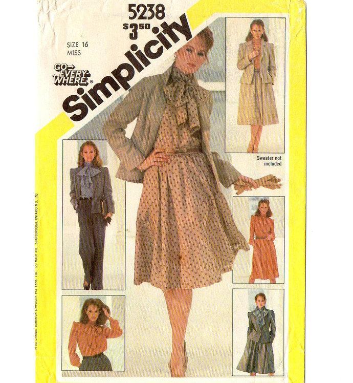 Simplicity 5238 Misses Jacket, Blouse, Flared Skirt, Pants 80s Vintage Sewing